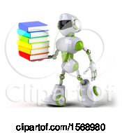 Poster, Art Print Of 3d Green And White Robot Holding Books On A White Background