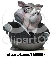 Clipart Of A 3d Business Rhinoceros Holding A Thumb Down On A White Background Royalty Free Illustration by Julos