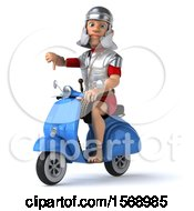Clipart Of A 3d Young Male Roman Legionary Soldier Riding A Scooter On A White Background Royalty Free Illustration