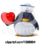 Clipart Of A 3d Chubby Penguin Sailor Holding A Heart On A White Background Royalty Free Illustration