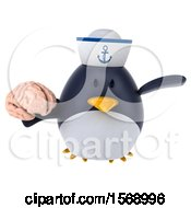 Clipart Of A 3d Chubby Penguin Sailor Holding A Brain On A White Background Royalty Free Illustration