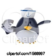 Clipart Of A 3d Chubby Penguin Sailor Holding A Euro On A White Background Royalty Free Illustration