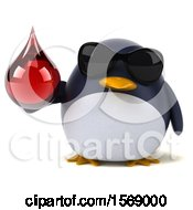 Clipart Of A 3d Chubby Penguin Holding A Blood Drop On A White Background Royalty Free Illustration
