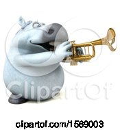 3d Chubby White Horse Playing A Trumpet On A White Background