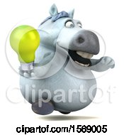3d Chubby White Horse Holding A Light Bulb On A White Background