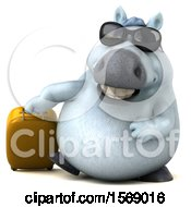 3d Chubby White Horse Traveling On A White Background