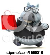 Clipart Of A 3d Chubby White Business Horse Holding A Shopping Bag On A White Background Royalty Free Illustration
