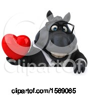 Poster, Art Print Of 3d Chubby Black Business Horse Holding A Heart On A White Background