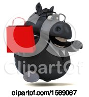 3d Chubby Black Business Horse Holding A Shopping Bag On A White Background