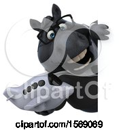 Clipart Of A 3d Chubby Black Business Horse Holding A Plane On A White Background Royalty Free Illustration