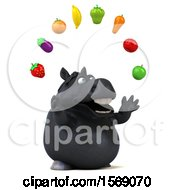 3d Chubby Black Horse With Produce On A White Background