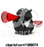3d Chubby Black Business Horse Holding A Steak On A White Background
