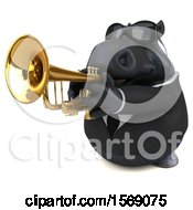 3d Chubby Black Business Horse Playing A Trumpet On A White Background