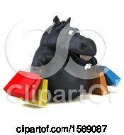 3d Chubby Black Horse Carrying Shopping Bags On A White Background
