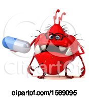 Clipart Of A 3d Red Germ Monster Holding A Pill On A White Background Royalty Free Illustration