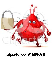 Poster, Art Print Of 3d Red Germ Monster Holding A Padlock On A White Background