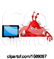 Clipart Of A 3d Red Germ Monster Holding A Tablet On A White Background Royalty Free Illustration