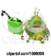Poster, Art Print Of 3d Green Germ Monster Holding A Gas Can On A White Background