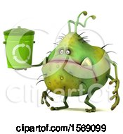 Poster, Art Print Of 3d Green Germ Monster Holding A Recycle Bin On A White Background