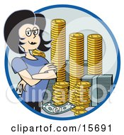 Successful Businesswoman Standing With Her Arms Crossed By Stacks Of Coins And Money Clipart Illustration