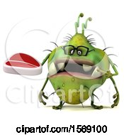 Clipart Of A 3d Green Germ Monster Holding A Steak On A White Background Royalty Free Illustration