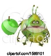 Clipart Of A 3d Green Germ Monster Holding An Apple On A White Background Royalty Free Illustration