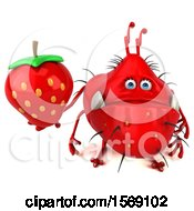 Clipart Of A 3d Red Germ Monster Holding A Strawberry On A White Background Royalty Free Illustration