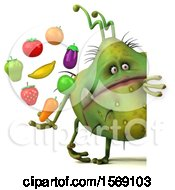 3d Green Germ Monster Holding Produce On A White Background