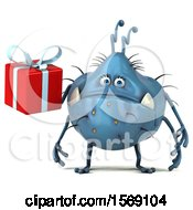 Poster, Art Print Of 3d Blue Germ Monster Holding A Gift On A White Background
