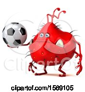 Clipart Of A 3d Red Germ Monster Holding A Soccer Ball On A White Background Royalty Free Illustration