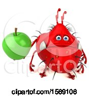 Poster, Art Print Of 3d Red Germ Monster Holding An Apple On A White Background