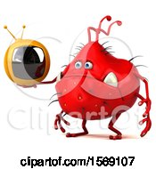 Poster, Art Print Of 3d Red Germ Monster Holding A Tv On A White Background