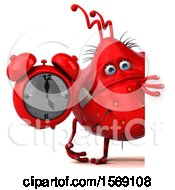 Clipart Of A 3d Red Germ Monster Holding An Alarm Clock On A White Background Royalty Free Illustration