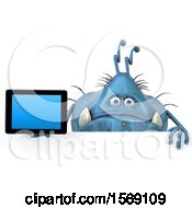 Clipart Of A 3d Blue Germ Monster Holding A Tablet On A White Background Royalty Free Illustration