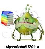 Poster, Art Print Of 3d Green Germ Monster Holding Books On A White Background