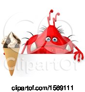 Poster, Art Print Of 3d Red Germ Monster Holding A Waffle Cone On A White Background