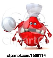3d Red Germ Monster Holding A Golf Ball On A White Background