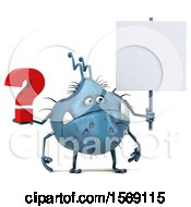 Poster, Art Print Of 3d Blue Germ Monster Holding A Question Mark On A White Background