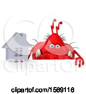 Clipart Of A 3d Red Germ Monster Holding A House On A White Background Royalty Free Illustration