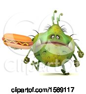 Clipart Of A 3d Green Germ Monster Holding A Hot Dog On A White Background Royalty Free Illustration
