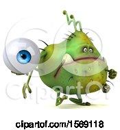 Poster, Art Print Of 3d Green Germ Monster Holding An Eyeball On A White Background