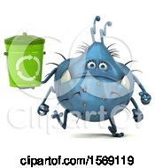 Poster, Art Print Of 3d Blue Germ Monster Holding A Recycle Bin On A White Background