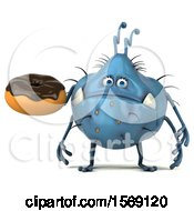 Poster, Art Print Of 3d Blue Germ Monster Holding A Donut On A White Background
