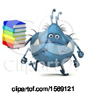 Poster, Art Print Of 3d Blue Germ Monster Holding Books On A White Background