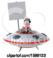 3d White And Black Clown Flying A Ufo On A White Background