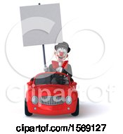 3d White And Black Clown Driving A Convertible On A White Background
