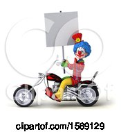 Clipart Of A 3d Colorful Clown Biker Riding A Chopper Motorcycle On A White Background Royalty Free Illustration