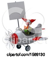 3d Funky Clown Flying A Plane On A White Background