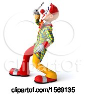 3d Funky Clown Using A Magnifying Glass On A White Background