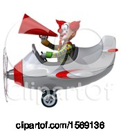 Clipart Of A 3d Funky Clown Flying A Plane On A White Background Royalty Free Illustration